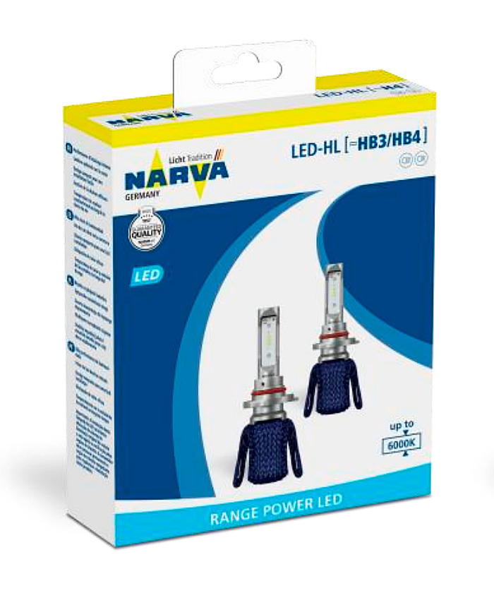 Автолампи NARVA, Range Power LED - HL HB3/4 6000K 2 бр/к-т